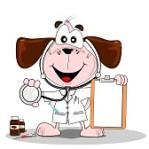 11287718-un-medecin-ou-le-veterinaire-chien-de-bande-dessinee-avec-le-stethoscope-et-le-presse-papiers-en-bla